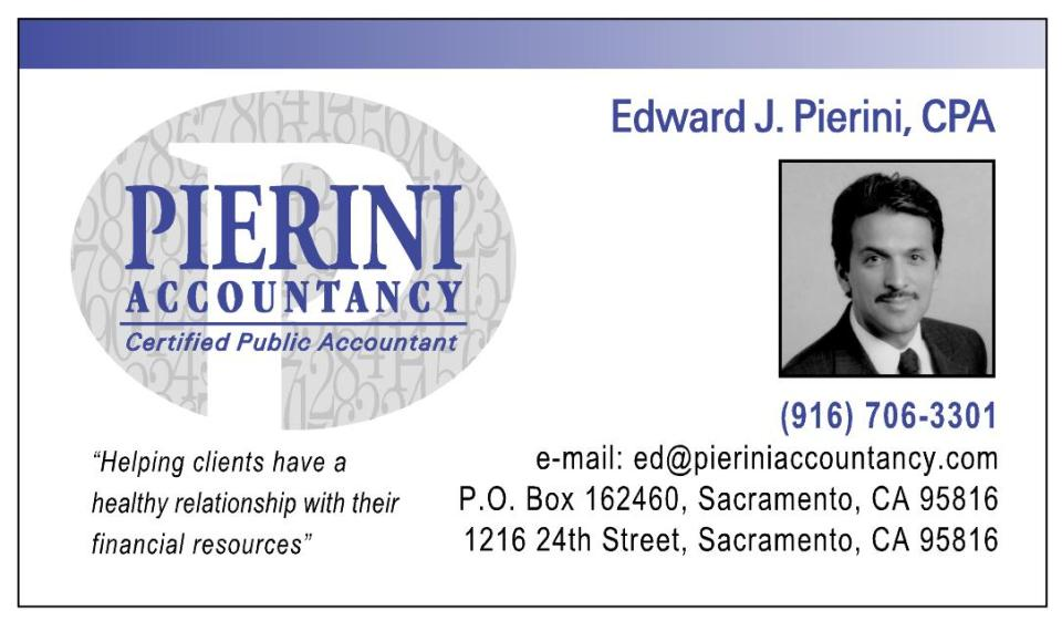 Business card large image | Welcome to Pierini Accountancy, CPA
